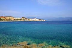 Ajaccio-Stadtbild und -ansicht über das Meer auf der Insel Korsika, Fra Stockbilder
