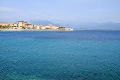 Ajaccio-Stadtbild und -ansicht über das Meer auf der Insel Korsika, Fra Stockbild