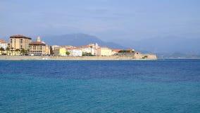 Ajaccio-Stadtbild und -ansicht über das Meer auf der Insel Korsika, Fra Lizenzfreies Stockbild