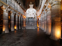 Ajanta. View inside of ancient Buddhist rock temple in Ajanta, Maharashtra, India (Unesco Stock Photos