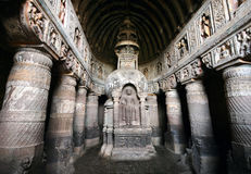 Ajanta Caves. Ajanta Cave with Buddha statue inside in Maharashtra, India Royalty Free Stock Photography
