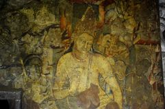 Ajanta caves, India. Painting at Ajanta caves, India stock photos
