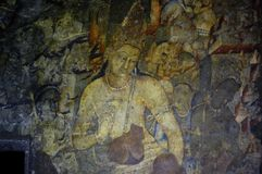 Ajanta caves, India. Ajanta caves paintings, Aurangabad, India stock photo