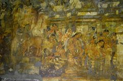 Ajanta caves, India. Ajanta caves paintings, Aurangabad, India royalty free stock image