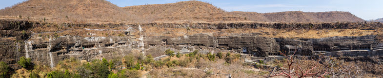 Ajanta caves panorama near Aurangabad in India Stock Photo