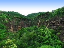 Ajanta, India: amazing ancient buddhist temples. Ajanta Caves, India: amazing site of ancient buddhist temples, carved in the rock as large caves. Started 2nd Stock Photography