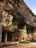 Ajanta, India: amazing ancient buddhist temples. Ajanta Caves, India: amazing site of ancient buddhist temples, carved in the rock as large caves. Started 2nd Stock Photos
