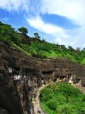 Ajanta, India: tempie buddisti antiche stupefacenti fotografie stock