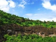 Ajanta, India: verbazende oude boeddhistische tempels Stock Afbeeldingen