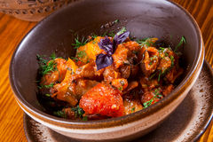 Ajapsandali with eggplant, pepper, tomato and herbs Stock Photo