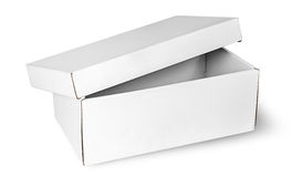 Ajar empty white box with lid Royalty Free Stock Photography