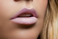 Ajar female mouth closeup. Delicate pink lips. Perfect skin. Stock Images