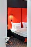 Ajar door in hotel room. The view of an luxury hotel room from an open door Stock Images