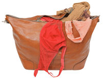Ajar leather bag with bra and pink lace panties. Isolated on white background Stock Images