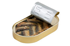 Ajar packaging with sprats Stock Photo