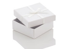 Ajar white gift box on a white background Stock Photography