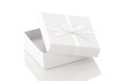 Ajar white gift box on a white background Royalty Free Stock Photography