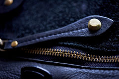 Ajar the zipper on a leather bag Royalty Free Stock Photo