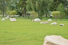 Ajardinando no jardim, as pedras brancas encontram-se no gramado verde Foto de Stock