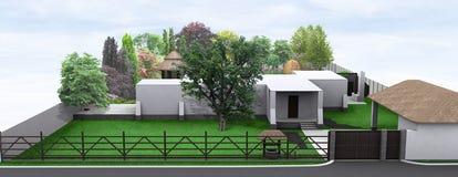 Ajardinando o estilo country do jardim da frente, 3D rendem Fotos de Stock Royalty Free