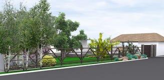 Ajardinando o jardim rústico do estilo, 3D rendem Imagem de Stock Royalty Free