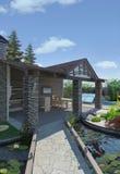 Ajardinando o pavilhão decorativo da lagoa e do jardim, 3D rendem Imagens de Stock Royalty Free