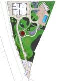Ajardinando o plano de desenvolvimento do local, 2D esboço Imagem de Stock Royalty Free