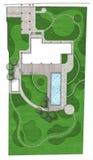 Ajardinando o plano diretor do plano de desenvolvimento da terra, 2D esboço Foto de Stock
