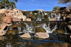 Ajardinando o projeto arquitetónico da cachoeira Foto de Stock Royalty Free