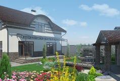 Ajardinando o quintal divertido, 3D rendem Imagens de Stock Royalty Free