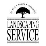 Ajardinando o serviço assine o vetor com a silhueta preta da árvore Fotos de Stock Royalty Free