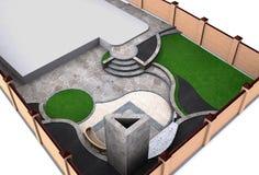 Ajardinando a opinião de ângulo alto do quintal, 3D rendem Foto de Stock