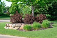 Ajardinar com arbustos do Weigela e parede de retenção da rocha Fotografia de Stock