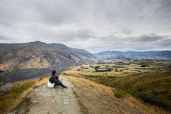 Ajardine ao lado da estrada da escala da coroa, Wanaka, Nova Zelândia Foto de Stock