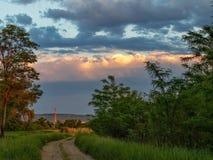 Ajardine as árvores da vegetação do céu das nuvens da natureza que nivelam nuvens largas do enrolamento da fuga da estrada de flo Imagem de Stock Royalty Free
