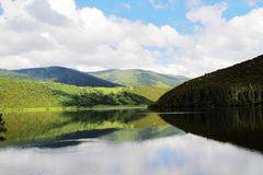 Ajardine, as nuvens brancas, floresta da montanha, pastagem, cenário de Shangri-La Imagens de Stock