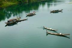 Ajardine, barco de fileira, rio, Vietname pobre Imagem de Stock