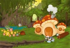 Ajardine a casa do cogumelo da palavra Imagem de Stock