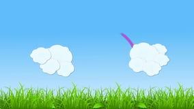 Ajardine a cena que mostra a nuvem emergente com criação do arco-íris no dia filme