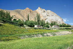 Ajardine cerca de Mulbek, monasterio de Mulbek también puede ser visto en el top, Kargil, la Ladakh-India fotografía de archivo