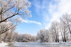 Ajardine com água, gelo e neve congelados no rio de Dnieper em Kiev, durante o inverno Imagens de Stock Royalty Free