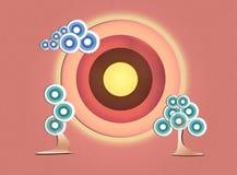 Ajardine com a árvore pastel, a nuvem e o sol criados de geométrico Imagem de Stock