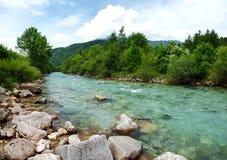 Ajardine com árvores das montanhas e corredeira do rio Salza na parte dianteira Foto de Stock