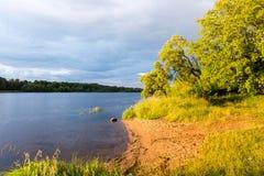 Ajardine com árvores das montanhas e um rio na parte dianteira Foto de Stock