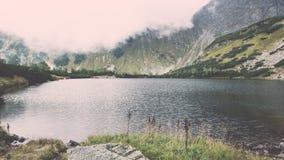 ajardine com árvores das montanhas e um rio na parte dianteira - vintage ef Imagem de Stock Royalty Free