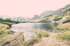 ajardine com árvores das montanhas e um rio na parte dianteira - vintage ef Imagens de Stock