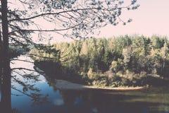 ajardine com árvores das montanhas e um rio na parte dianteira - vintage ef Fotografia de Stock