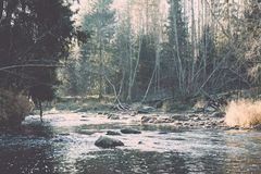 ajardine com árvores das montanhas e um rio na parte dianteira - vintage fi Foto de Stock