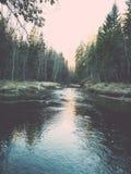 ajardine com árvores das montanhas e um rio na parte dianteira - vintage fi Foto de Stock Royalty Free