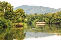 Ajardine com árvores e um rio na parte dianteira Imagens de Stock